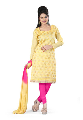 Fabdeal Yellow Colored Cora Silk Un-Stitched Salwar Kameez