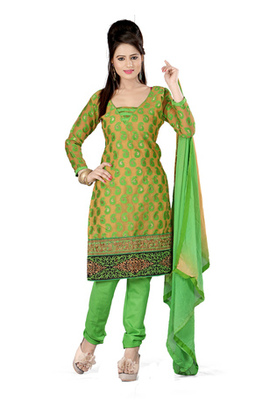 Fabdeal Golden Colored Banarasi Silk Un-Stitched Salwar Kameez