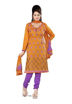 Fabdeal Orange Colored Cora Silk Un-Stitched Salwar Kameez