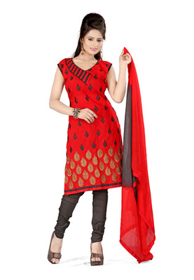 Fabdeal Red Colored Cora Silk Un-Stitched Salwar Kameez