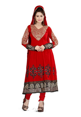 Fabdeal Red Colored Georgette Semi-Stitched Salwar Kameez