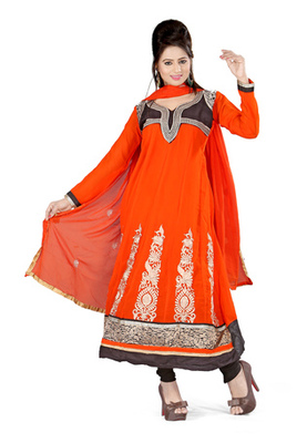 Fabdeal Orange Colored Georgette Semi-Stitched Salwar Kameez
