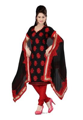 Fabdeal Black Colored Cambric Cotton Un-Stitched Salwar Kameez