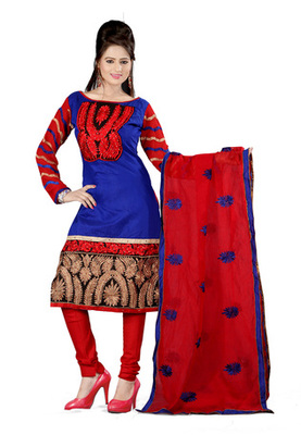 Fabdeal Blue Colored Chanderi Cotton Un-Stitched Salwar Kameez