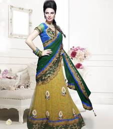 Buy green embroidered net saree With Blouse women-ethnic-wear online