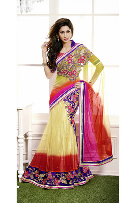 golden embroidered net saree With Blouse
