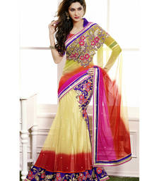 Buy golden embroidered net saree With Blouse women-ethnic-wear online