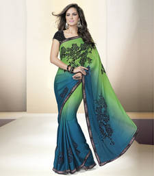 Buy blue embroidered satin saree With Blouse party-wear-saree online