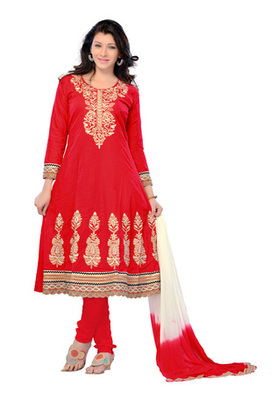 Fabdeal Red Colored Pure Cotton Semi-Stitched Salwar Kameez
