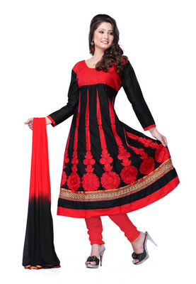 Fabdeal Black Colored Pure Cotton Semi-Stitched Salwar Kameez