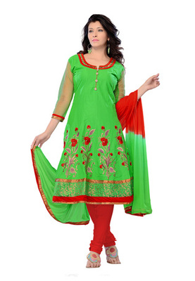 Fabdeal Green Colored Pure Cotton Semi-Stitched Salwar Kameez