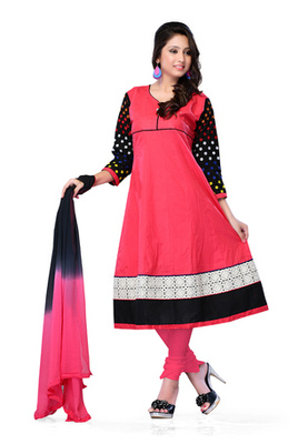 Fabdeal Pink Colored Pure Cotton Semi-Stitched Salwar Kameez