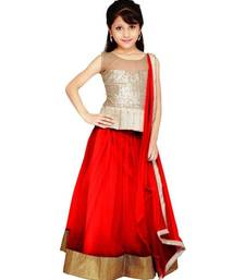 Buy red embroidered net semi stitched lehenga choli kids-lehenga-choli online
