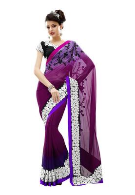 Fabdeal Dark Purple Colored Faux Georgette Embroidered Saree