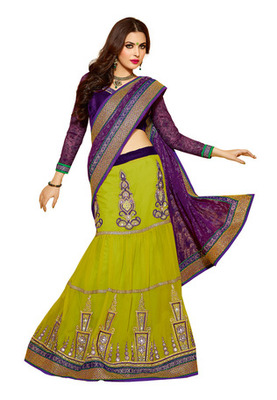 Fabdeal Purple Colored Net Jacquard Embroidered Saree