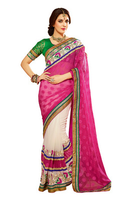 Fabdeal Pink Colored Georgette Jacquard Embroidered Saree