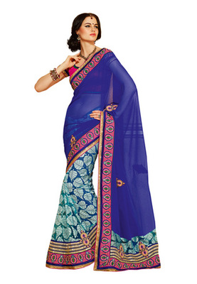 Fabdeal Blue Colored Georgette Embroidered Saree