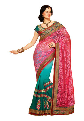 Fabdeal Pink Colored Net Brasso Embroidered Saree