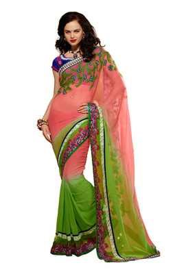Fabdeal Pink Colored Pure Georgette Embroidered Saree