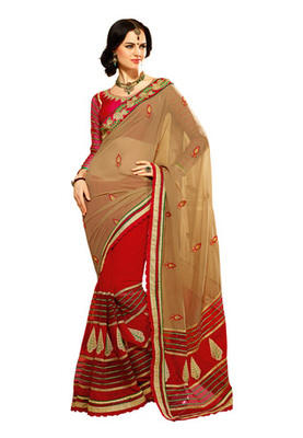 Fabdeal Grey Colored Georgette Embroidered Saree