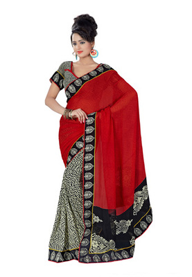 Fabdeal Red Colored Georgette & Georgette Printed With Lace Border Saree