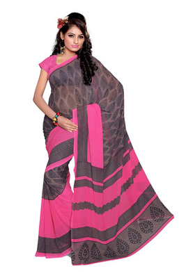 Fabdeal Pink Colored Faux Georgette Printed Saree