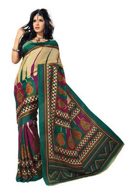Fabdeal Cream  Colored Bhagalpuri Silk Printed Saree
