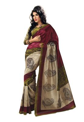 Fabdeal Magenta Colored Bhagalpuri Silk Printed Saree