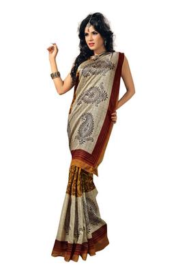 Fabdeal Orange Colored Bhagalpuri Silk Printed Saree