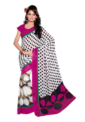 Fabdeal White Colored Faux Georgette Printed Saree