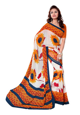 Fabdeal White Colored Bemberg Georgette Printed Saree