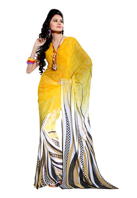 Fabdeal Yellow Colored Georgette Bemberg Printed Saree