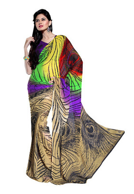 Fabdeal Multi Colored Georgette Bemberg Printed Saree