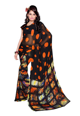 Fabdeal Black Colored Faux Georgette Printed Saree