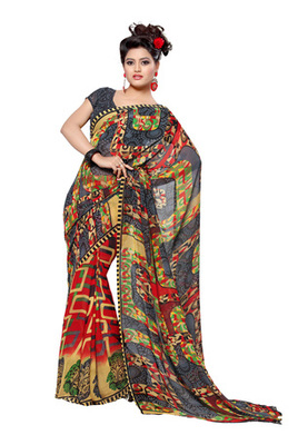 Fabdeal Grey Colored Faux Georgette Printed Saree
