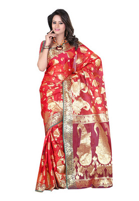 Fabdeal Red Colored Banarasi Cotton Weaving Embordered Saree