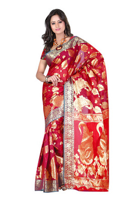 Fabdeal Pink Colored Banarasi Cotton Weaving Embordered Saree