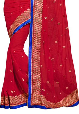 Fabdeal Pink Colored Chiffon Embroidered Saree
