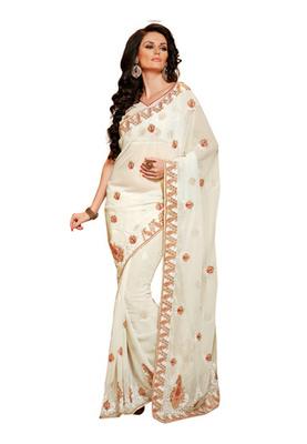 Fabdeal White Colored Chiffon Embroidered Saree