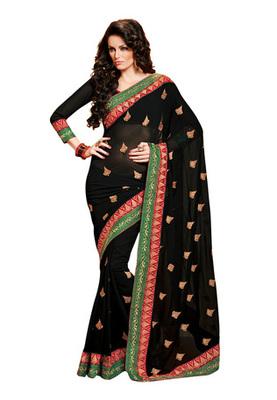 Fabdeal Black Colored Chiffon Embroidered Saree