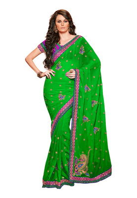 Fabdeal Green Colored Chiffon Embroidered Saree