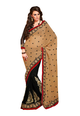 Fabdeal Beige Colored Chiffon Embroidered Saree