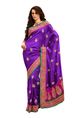 Fabdeal Violet Colored Bhagalpuri Cotton Embroidered Saree
