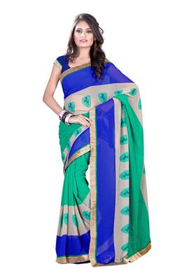 Fabdeal Green Colored Chiffon Printed Saree