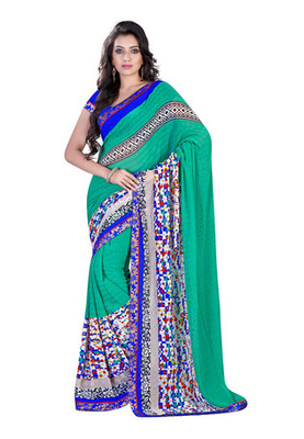 Fabdeal Green  Colored Chiffon Chex Printed Saree
