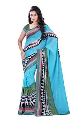 Fabdeal Light Blue  Colored Chiffon Printed Saree