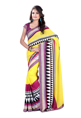 Fabdeal Yellow  Colored Chiffon Printed Saree