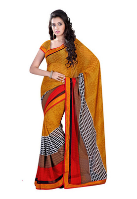 Fabdeal Orange  Colored Chiffon Chex Printed Saree