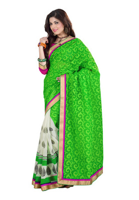 Fabdeal Green Colored Cotton Brasso Printed Saree