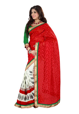 Fabdeal Red Colored Cotton Brasso Printed Saree